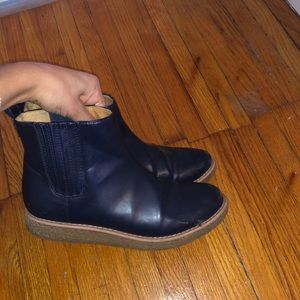 Shoes - Navy Leather Booties